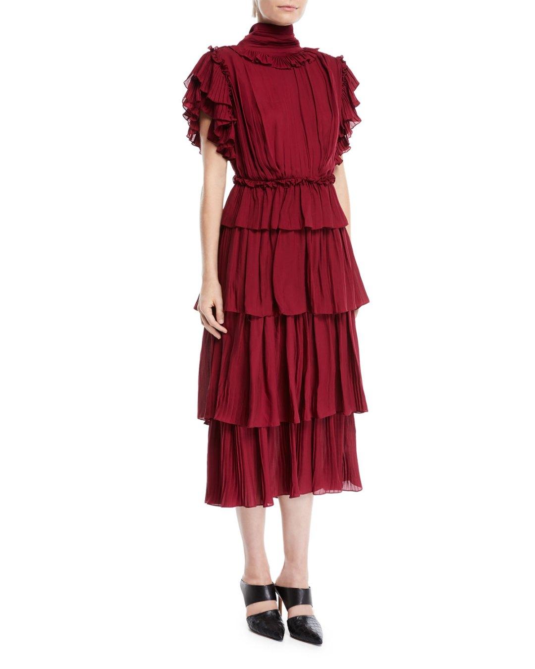 Fashionweek Fashion Week Tendencies Sling Bag Twin Side Pocket Burgundy Maroon Johanna Ortiz One Shoulder Cotton Eyelet Maxi Dress W Bow Top Bergdorf Goodman Neiman Marcus 175000
