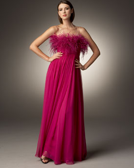 T1X3K Notte by Marchesa Feather Bust Chiffon Gown