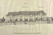 Fasadetegning av blokk B, signert D.J. Muri juni 1920. Utsnitt. Arkivet etter arkitekt Daniel Muri.