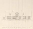 Slettebakken hovedgård fasade mot nord. Oppmålingstegning av hovedbygningen fra 1925 av arkitekt Peter Andersen. Fra Bergen Arkitektforenings oppmålingsarkiv.