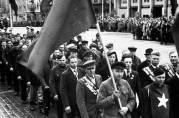 Frigitte russiske krigsfanger 1945. Fotograf:  Rolf Norvin. Universitetsbibliotekets billedsamlinger.