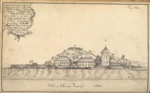 Bergehus festning tegnet av Reichborn på slutten av 1760-tallet. Arkivet etter De eligerte menn, Bergen Byarkiv.