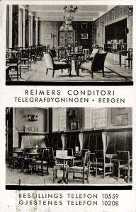 Reimers Conditori i telegrafbygningen. Fotograf: Ukjent. Arkivet etter Conditor Reimers A/S, Bergen Byarkiv.