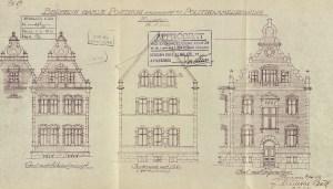 Tegninger av det gamle posthuset i Bergen som sto ferdig i 1894. Tegnet i samband med ombygging til politikammer på 1950-tallet. Tegningene er datert 1956, og signert av arkitekt J. Munthe Bull.<br />Arkivet etter Bygningssjefen, Bergen Byarkiv.