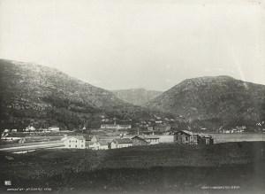 Nygaard fotografert i 1865, før utbyggingen av området startet. En reperbane, enger og ganske spredt bebyggelse ses på Knudsens foto. .<br />Fotograf: Knud Knudsen.<br />Arkivet etter Formannskapet, Bergen Byarkiv.