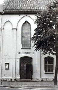 Frelsestemplet, Strømgaten 16. Foto fra omkring 1980. Fotograf: Ukjent Arkivet etter Morgenavisen A/S, Bergen Byarkiv.