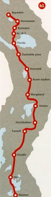 Bybanetraséen Bergen sentrum-Nesttun, i henhold til Bergensprogrammet 2002-2015. Illustrasjon fra Bybanekontoret.