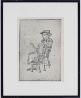 "<h5>""Seated Man"" by Tatiana Sedlar (N/D)</h5><p>Approx. 9""x12""; Intaglio on paper BMAS 1024</p>"