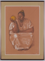 "<h5>""Sitting Woman with Fruit"" by Zia [?] (1974)</h5><p>Approx. 19""x26""; Lithograph BMAS 1061</p>"