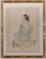 "<h5>""Seated Woman"" by Edward Barnard Lintott (1951)</h5><p>Approx. 14""x19""; Watercolor on paper BMAS 1035</p>"