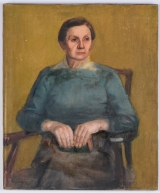 "<h5>""Untitled [Seated Woman with Purse]"" by Unknown (N/D)</h5><p>Approx. 25""x30""; Oil on canvas BMAS 1032</p>"