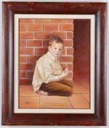 "<h5>""Untitled [Boy Eating by Brick Wall]"" by Mira (N/D)</h5><p>Approx. 24""x32""; Oil on canvas BMAS 1144</p>"