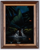 "<h5>""Untitled [Waterfall]"" by Sands [?] (N/D)</h5><p>Approx. 9""x12""; Paint on velvet BMAS 1070</p>"