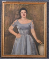 "<h5>""Untitled [Portrait of a Woman in a Blue Dress]"" by Unknown (N/D)</h5><p>Approx. 36""x44""; Oil on canvas BMAS 1159</p>"