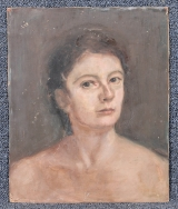 "<h5>""Untitled [Woman with Bare Shoulders]"" by Unknown (N/D)</h5><p>Approx. 25""x37""; Oil on canvas BMAS N/N</p>"