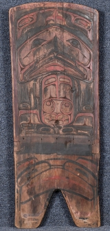 "<h5>""Kwakiutl Carving"" by Unknown</h5><p>Approx. 33""x40""; Carved polychrome wooden bench end BMAS 1094</p>"