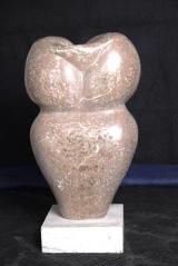 """<h5>""""Vessel"""" by Rochelle Nicholas (N/D)</h5><p>Approx. 42″ L/D; Carved stone sculpture BMAS N/N</p>"""