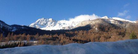 Skitouren Valmaira / Blick vom Hotel Mistral auf den Freide