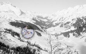Lage Bergland Appartement im Winter - Ansicht vom Gipfel des Omeshorn
