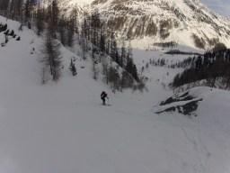 Die Rinne oberhalb des Eishofes beim Aufstieg