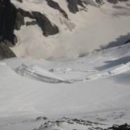 Der Gletscher war steil und sehr spaltenreich