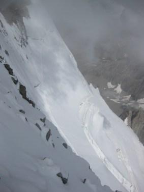 Extreme Steilheit die Flanke vom Barre Des Écrins