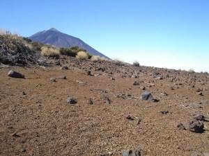 Bimssteinfelder mit dem Teide im Hintergrund
