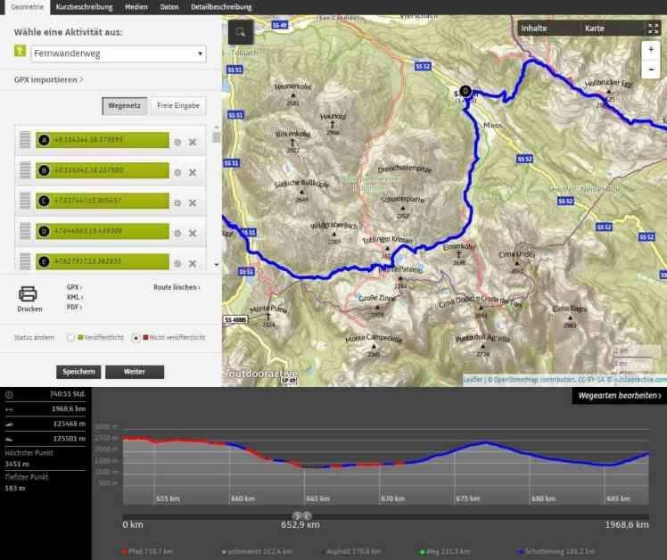 alpenüberquerung Routenplanung