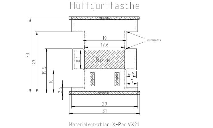 DIY Hüftgurttasche Schnittmuster-CAD