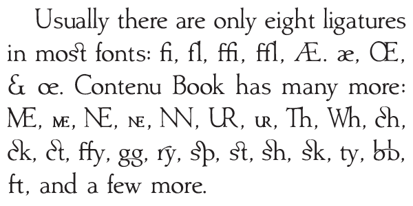Here are some of the ligatures found in Contenu