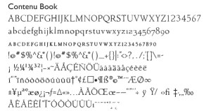 Some of the Contenu Font Characters