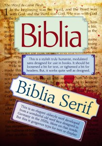 Biblia, Biblia Serif, new book production fonts & a free specimen book