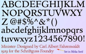 Inspiration font, Minister by Carl Albert Fahrenwaldt in 1929