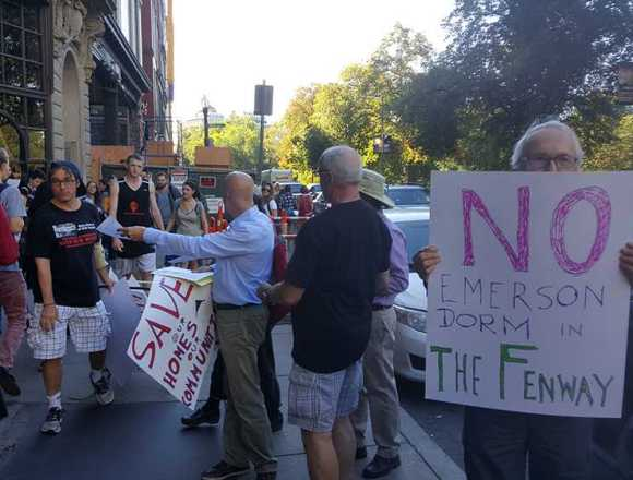 Fenway folks protest Emerson extension