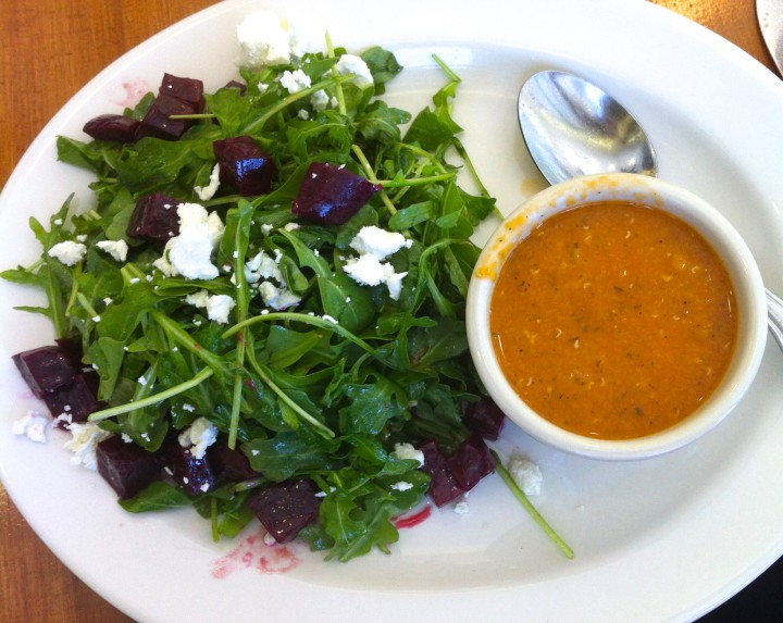 Kobani's arugula and beet salad with creamy lentil soup. Photo: Anna Mindess
