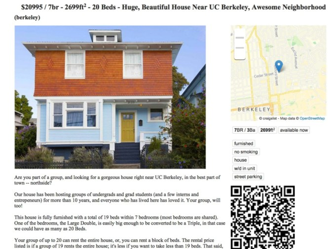 An Ad For A Mini Dorm On Craigslist In 2017 The Says Seven Bedroom House Can Sleep 20