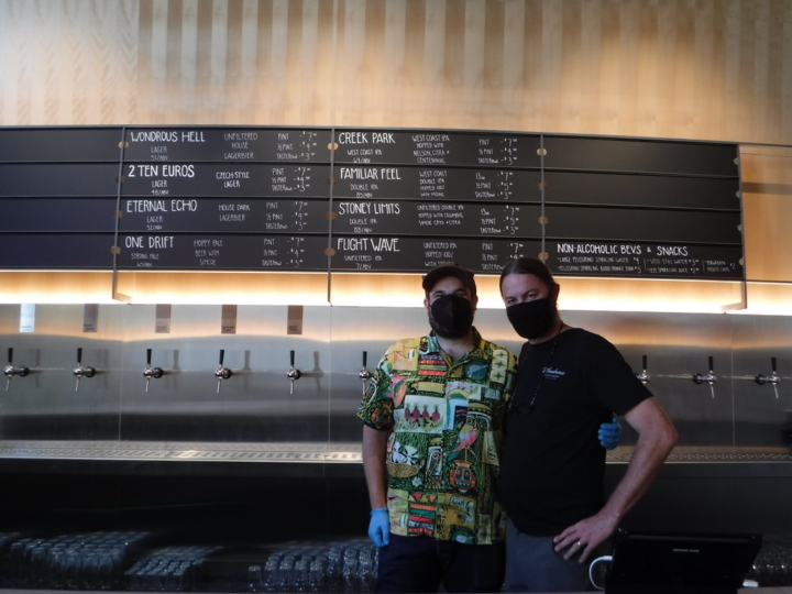 Bartenders at Emeryville's new Wondrous Brewery. Credit: Joanna Della Penna