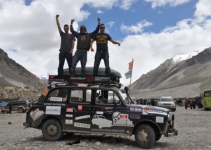 From left, Paul Archer, Johno Ellison and Leigh Purnell at Mount Everest Base Camp.