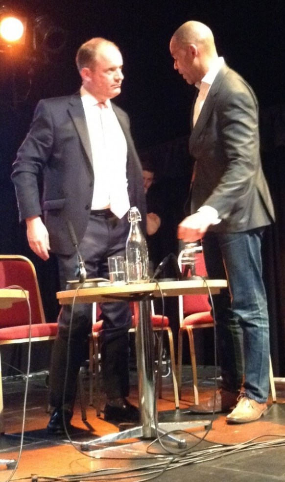 Mayoral rivals Marvin Rees (Labour, right) and Charles Lucas (Conservative, left) talking on stage after the Bristol 24/7 hustings.
