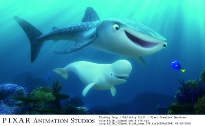 """Finding Dory"" introduces new characters to the big screen, including a whale shark named Destiny who's nearsighted, and a beluga whale named Bailey who thinks his biological sonar skills are on the fritz. Featuring Kaitlin Olson as the voice of Destiny and Ty Burrell as the voice of Bailey, ""Finding Dory"" opens on June 17, 2016. ©2016 Disney•Pixar. All Rights Reserved."