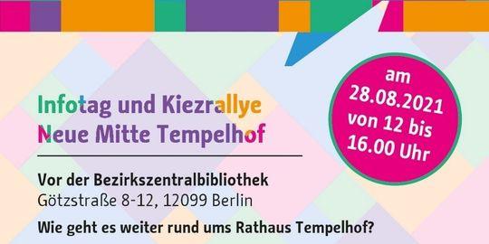 """Ein buntes Plakat mit der Aufschrift """"Einladung"""" und Infotag und Kiezrally Neue Mitte Tempelhof""""."""