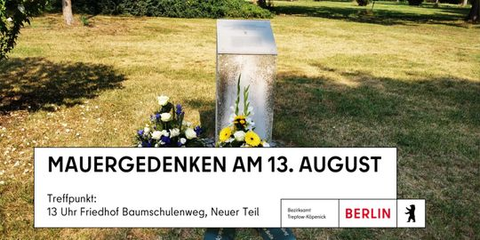 Stele zur Erinnerung an die Mauer am Friedhof Baumschulenweg
