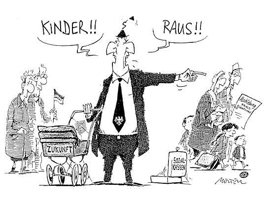 "Passend zum Thema Bekinderung: ""Kinder raus..."" © Cartoon-Caricature-Contors"