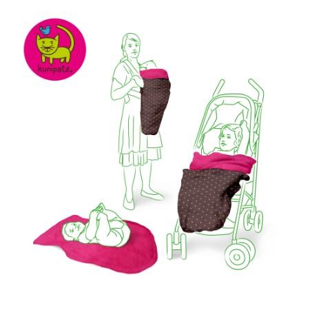Das KUNICAPE als Fußsack für Kinderwagen, Fußsack für Buggy, Tragecover und Wickelunterlage