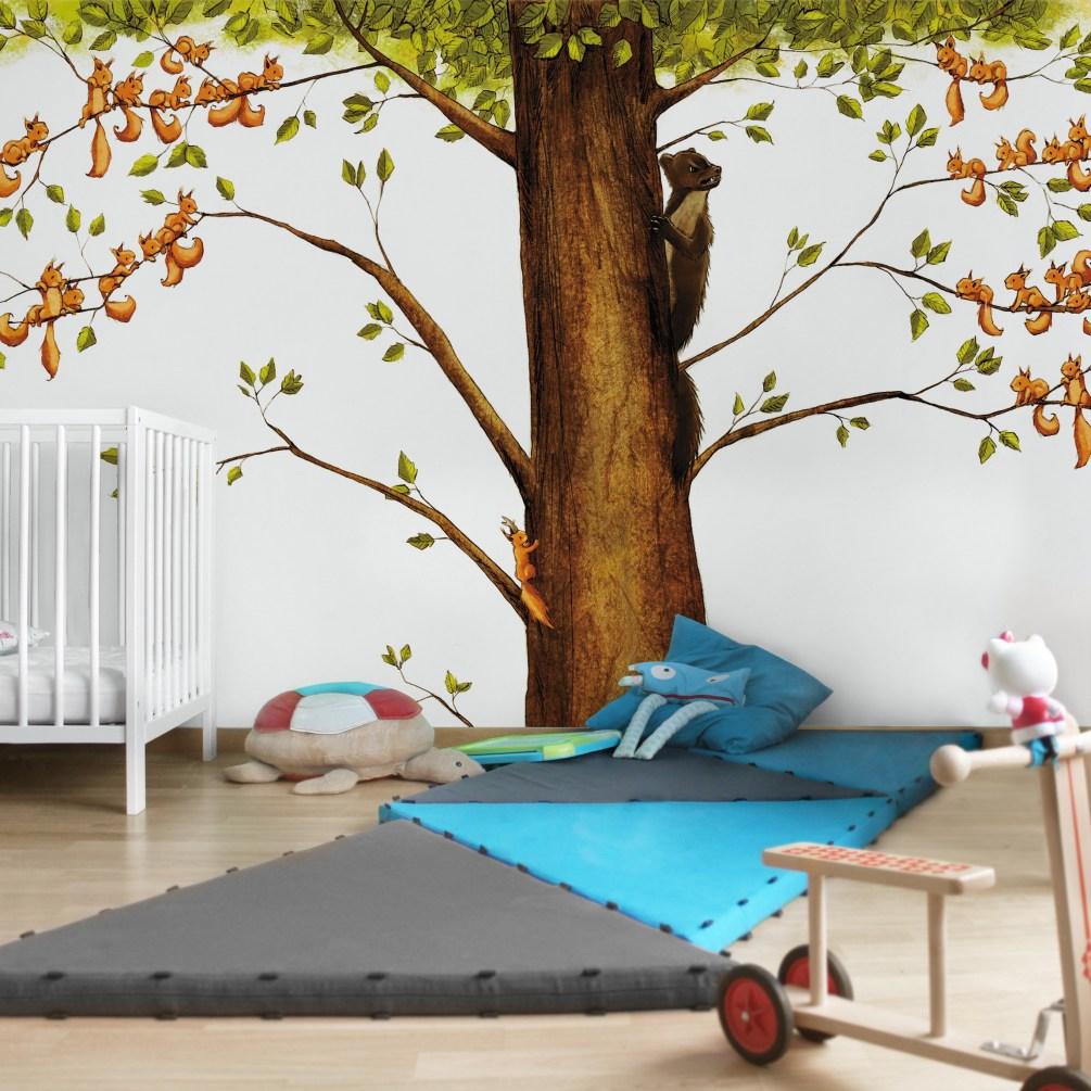 Inspiration fürs Kinderzimmer: Eichhörnchen. Dies ist das Motiv Einhörnchen von Joëlle Tourlonias. Mehr Kinderzimmer Ideen bei @BerlinFreckles