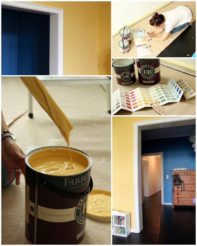 Unser Kinderzimmer mit den neuen Wandfarben Yellow Ground und Cook's Blue von Farrow and Ball