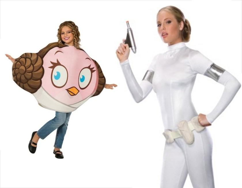 Mutter-Kind-Kostümkombination: Angry Bird Prinzessin Leia und Prinzessin Amidala aus Star Wars