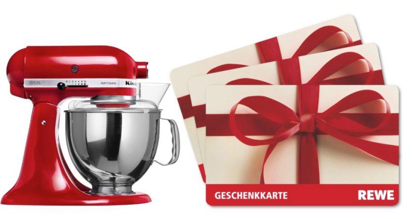 Gewinne mit etwas Glück eine KitcheAid Küchenmaschine Artisan in Rot oder einen von 3 REWE Gutscheinen.