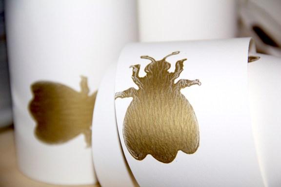 Schrank tapezieren: Weiße Tapete mit goldenen Hummeln von Farrow & Ball