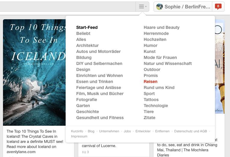 """Reiseplanung mit Pinterest: """"Reise"""" ist eine der Hauptkategorien von Pinterest. (Quelle: www.Berlinfreckles.de)"""